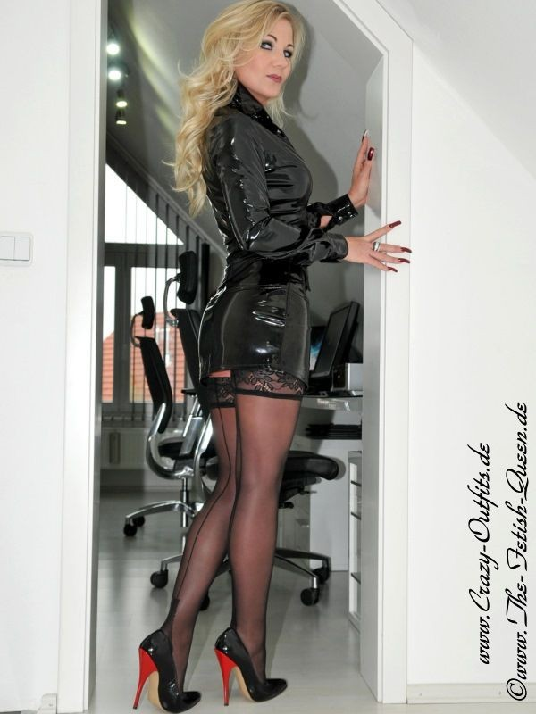 Milf in pvc coat amp leather lace up basque - 3 4