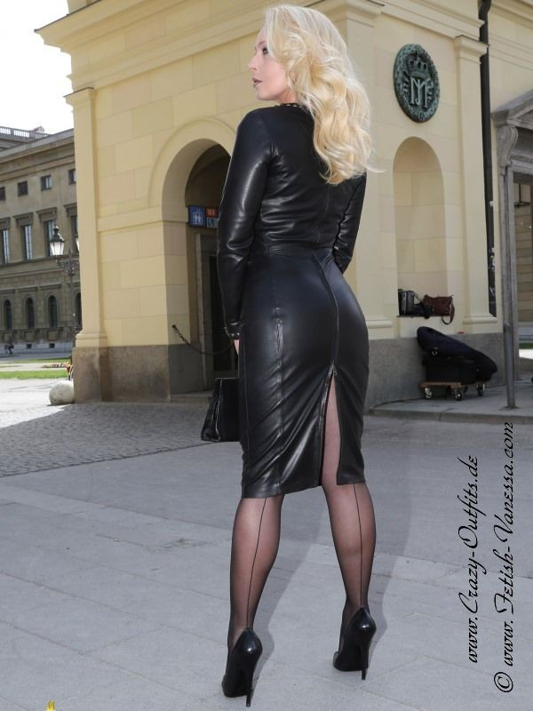 Milf in pvc coat amp leather lace up basque - 1 7