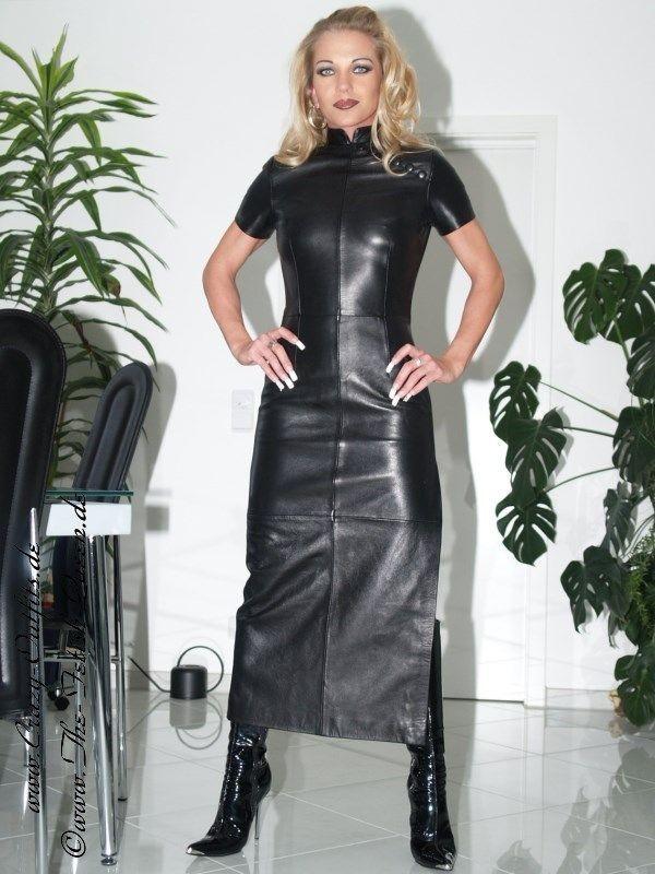 leather dress long ds 004 designed by crazy outfits. Black Bedroom Furniture Sets. Home Design Ideas